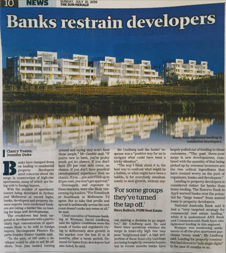Banks Restrain Developers - DFP featured in The Sun Herald 31 July 2016
