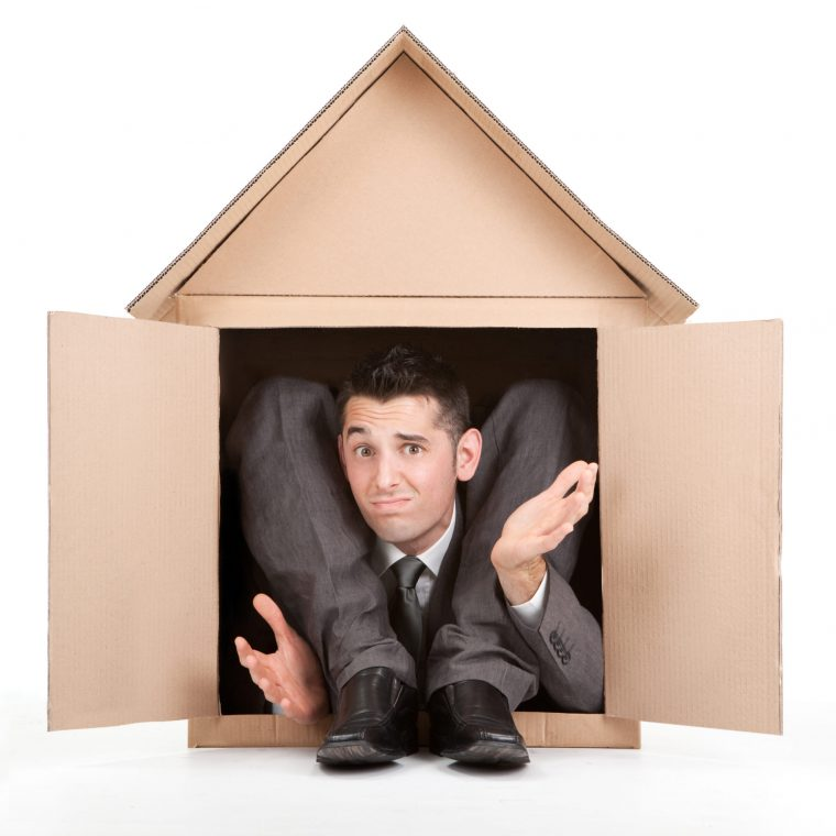 business man in a cardboard house