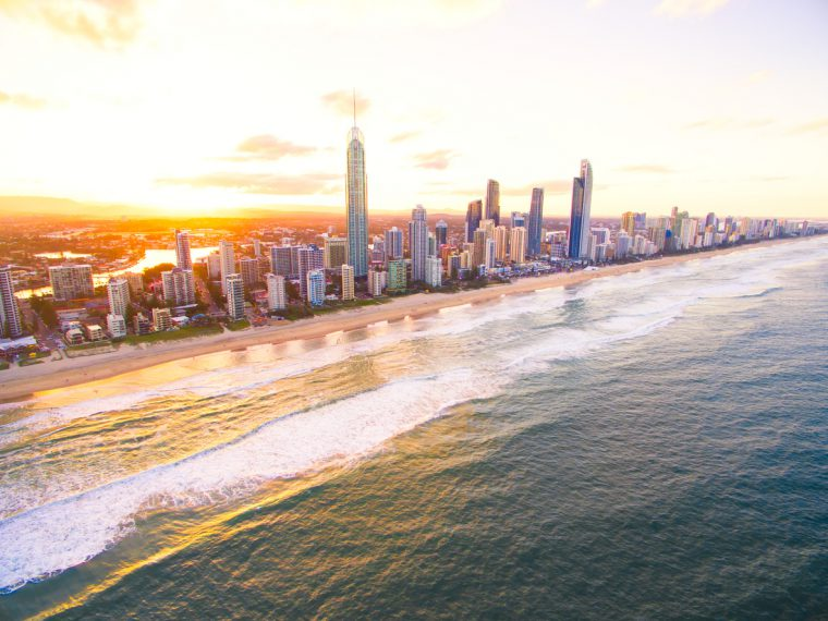 Surfers Paradise aerial image at sunset